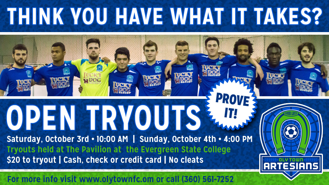 03dc2334a The Oly Town Artesians semi-professional indoor soccer club kicks off their  2015-2016 preseason with open tryouts on Saturday, October 3rd at 10:00 AM  and ...